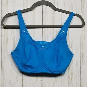 Athleta blue sports bra with underwire 34C